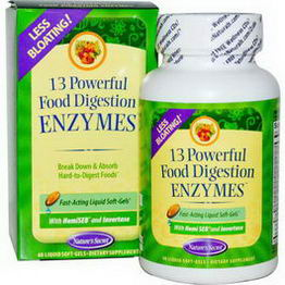 Nature's Secret, 13 Powerful Food Digestion Enzymes, 60 Liquid Soft-Gels