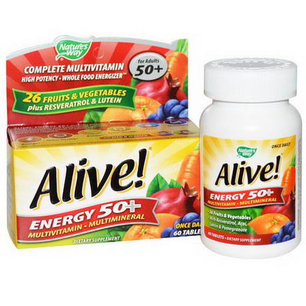 Nature's Way, Alive, Energy 50+, Multivitamin-Multimineral, For Adults 50+, 60 Tablets
