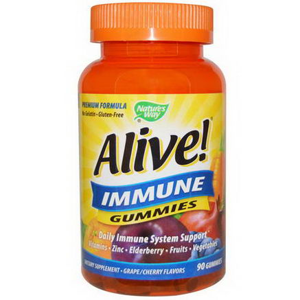Nature's Way, Alive! Immune Gummies, Grape/Cherry Flavors, 90 Gummies