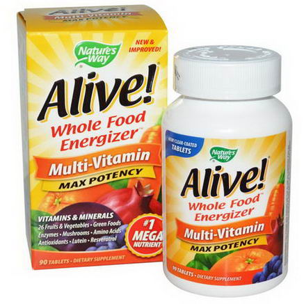 Nature's Way, Alive, Multi-Vitamin, Max Potency, 90 Tablets