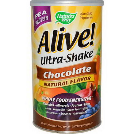 Nature's Way, Alive! Ultra-Shake, Pea Protein, Chocolate, 21oz (597g)