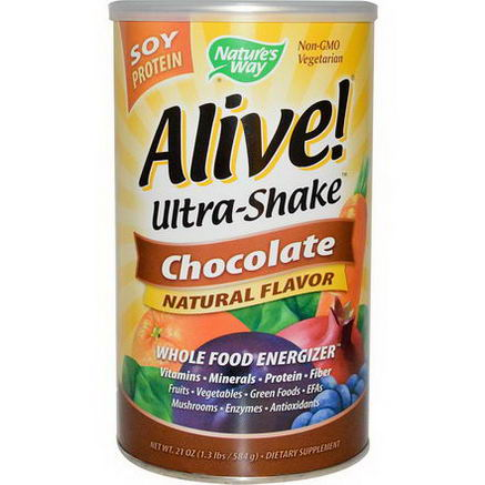 Nature's Way, Alive! Ultra-Shake, Soy Protein, Chocolate, 1.3 lbs (584g)