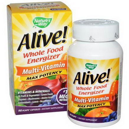 Nature's Way, Alive, Whole Food Energizer, Multi-Vitamin, Max Potency, 90 Vcaps