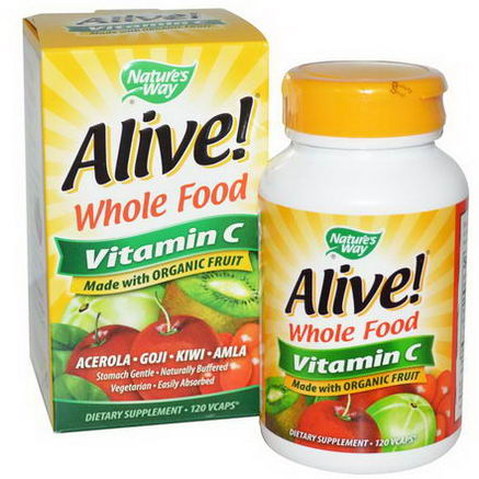 Nature's Way, Alive, Whole Food, Vitamin C, 120 Vcaps
