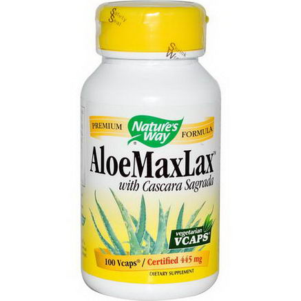 Nature's Way, AloeMaxLax, with Cascara Sagrada, 445mg, 100 Vcaps