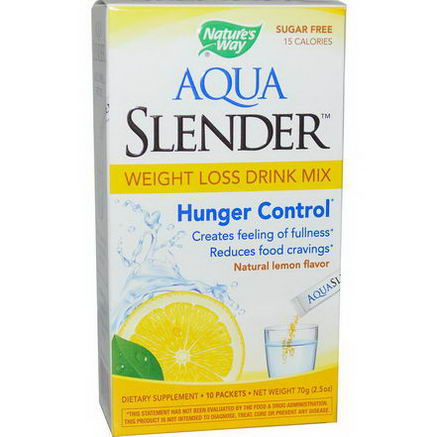 Nature's Way, Aqua Slender, Weight Loss Drink Mix, Natural Lemon Flavor, 10 Packets, 25oz (7g) Each