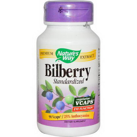 Nature's Way, Bilberry, Standardized, 90 Vcaps