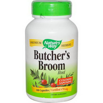 Nature's Way, Butcher's Broom, Root, 470mg, 100 Capsules