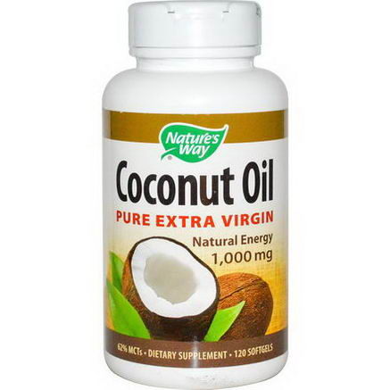 Nature's Way, Coconut Oil, Pure Extra Virgin, 1, 000mg, 120 Softgels