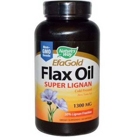 Nature's Way, EfaGold, Flax Oil, Super Lignan, 1300mg, 100 Softgels