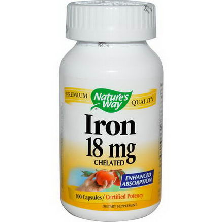 Nature's Way, Iron Chelated, 18mg, 100 Capsules