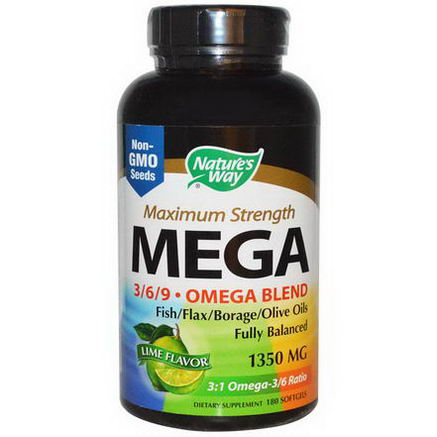 Nature's Way, Maximum Strength Mega 3/6/9, Omega Blend, Lime Flavor, 1350mg, 180 Softgels
