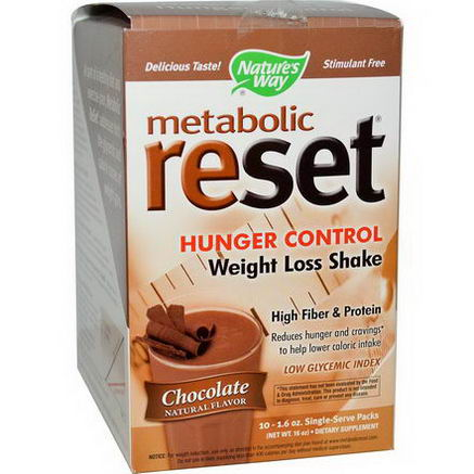 Nature's Way, Metabolic Reset, Hunger Control, Weight Loss Shake, Chocolate, 10 Packs, 1.6oz Each