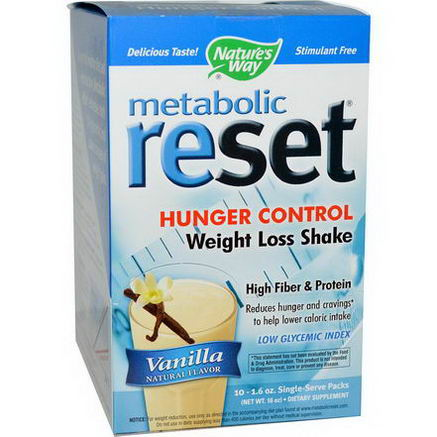 Nature's Way, Metabolic Reset, Hunger Control, Weight Loss Shake, Vanilla, 10 Single Serve Packs, 1.6oz Each