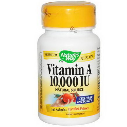 Nature's Way, Vitamin A, 10, 000 IU, 100 Softgels