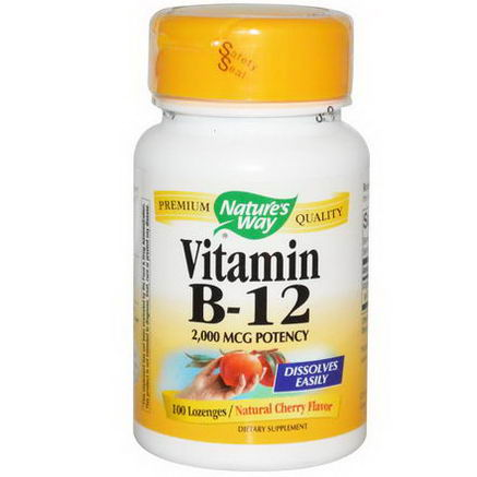 Nature's Way, Vitamin B-12, Natural Cherry Flavor, 2000 mcg, 100 Lozenges