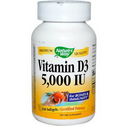 Nature's Way, Vitamin D3, 5000 IU, 240 Softgels