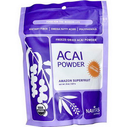 Navitas Naturals, Organic, Acai Powder, Freeze-Dried Acai Powder, 8oz (227g)