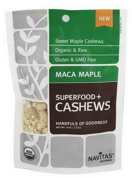 Navitas Naturals, Superfoods+ Cashews, Maca Maple, 4oz (113g)