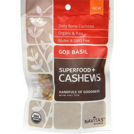 Navitas Naturals, Superfoods+, Goji Basil Cashews, 4oz (113g)