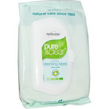 Nelson Bach USA, Pure & Clear, Purifying Cleansing Wipes, 32 Facial Wipes, 5.0