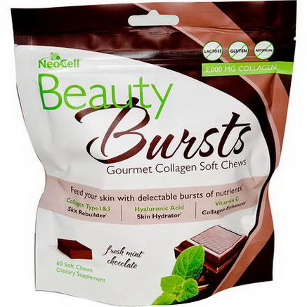 Neocell, Beauty Bursts, Gourmet Collagen Soft Chews, Fresh Mint Chocolate, 60 Soft Chews
