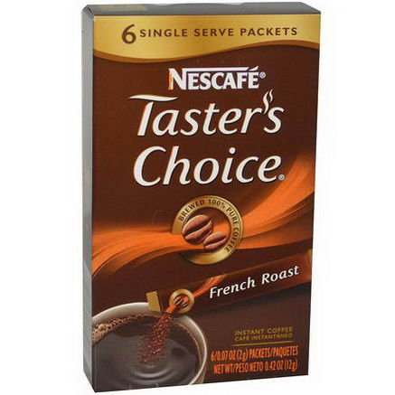 Nescafe, Taster's Choice, Instant Coffee, French Roast, 6 Packets, 0.07oz (2g) Each