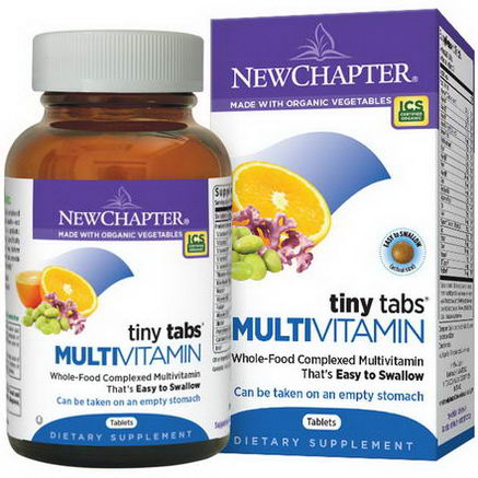 New Chapter, Multivitamin Tiny Tabs, Whole-Food Complexed Multivitamin, 192 Tablets