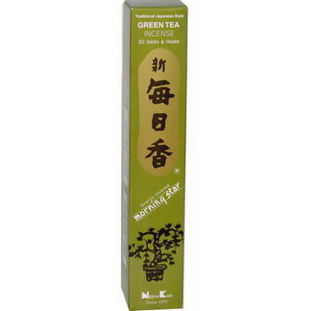 Nippon Kodo, Green Tea Incense, 50 Stick & Holder
