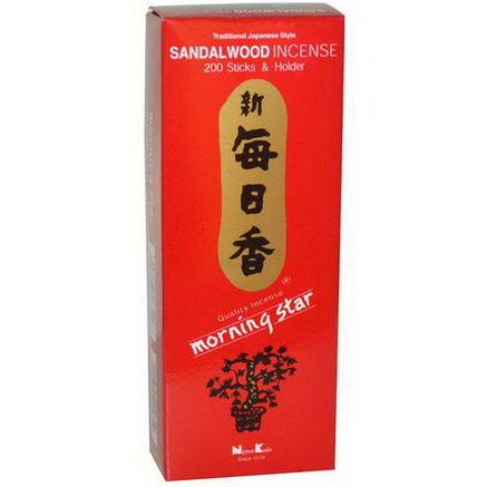 Nippon Kodo, Morning Star, Sandalwood Incense, 200 Sticks & Holder