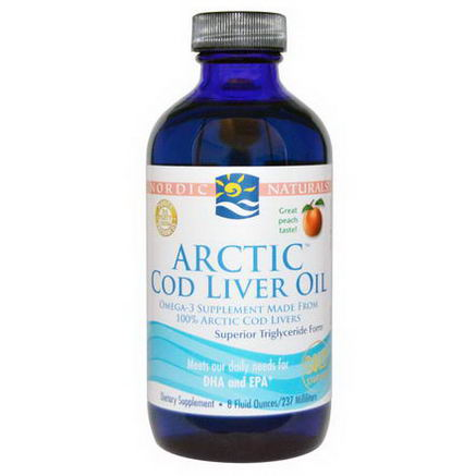 Nordic Naturals, Arctic Cod Liver Oil, Peach, 8 fl oz (237 ml)
