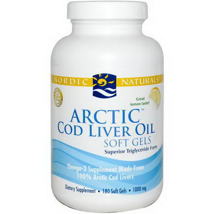 Nordic Naturals, Arctic Cod Liver Oil Soft Gels, Lemon, 1000mg, 180 Soft Gels