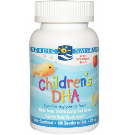 Nordic Naturals, Children's DHA, Strawberry, 250mg, 180 Chewable Soft Gels