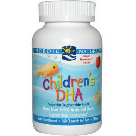 Nordic Naturals, Children's DHA, Strawberry, 250mg, 360 Chewable Soft Gels