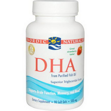 Nordic Naturals, DHA, Strawberry, 500mg, 90 Soft Gels