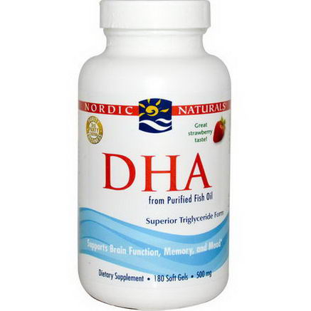 Nordic Naturals, DHA, from Purified Fish Oil, Strawberry, 500mg, 180 Soft Gels