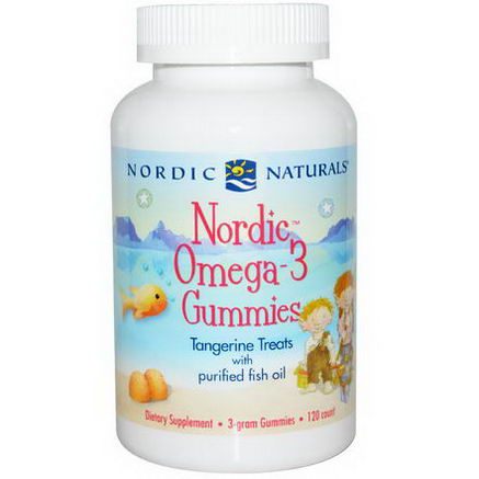 Nordic Naturals, Nordic Omega-3 Gummies, Tangerine Treats, 120 Count