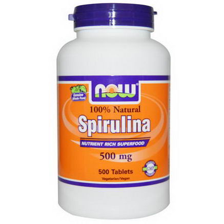 Now Foods, 100% Natural Spirulina, 500mg, 500 Tablets