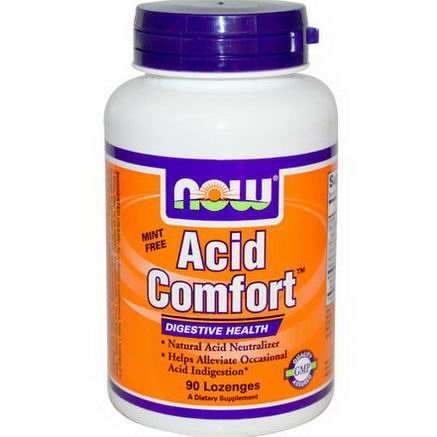 Now Foods, Acid Comfort, Mint Free, 90 Lozenges