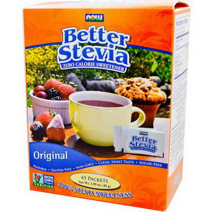 Now Foods, Better Stevia, Zero Calorie Sweetener, Original, 45 Packets, 1.59oz (45g)