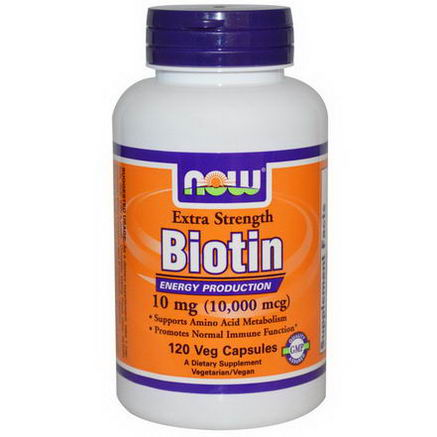 Now Foods, Biotin, Extra Strength, 10mg (10, 000 mcg), 120 Veggie Caps