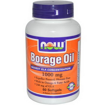 Now Foods, Borage Oil, Highest GLA Concentration, 60 Softgels