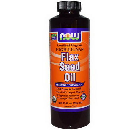 Now Foods, Certified Organic, Flax Seed Oil, High Lignan, 12 fl oz (355 ml)