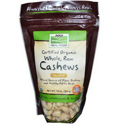 Now Foods, Certified Organic Real Food, Whole, Raw, Cashews, Unsalted, 10oz (284g)
