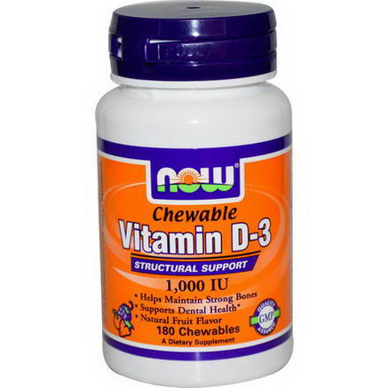 Now Foods, Chewable Vitamin D-3, Natural Fruit Flavor, 1, 000 IU, 180 Chewables