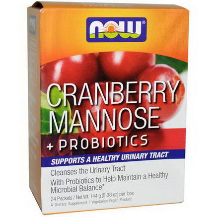 Now Foods, Cranberry Mannose + Probiotics, 24 Packets, (6g) Each