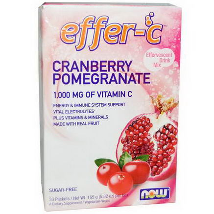 Now Foods, Effer-C, Cranberry Pomegranate, 30 Packets, 5.5g Each