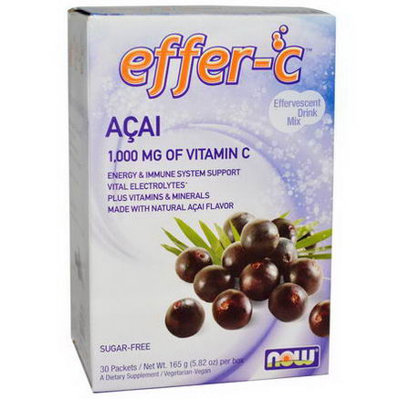 Now Foods, Effer-C, Effervescent Drink Mix, Acai, 30 Packets, 5.82oz (165g)