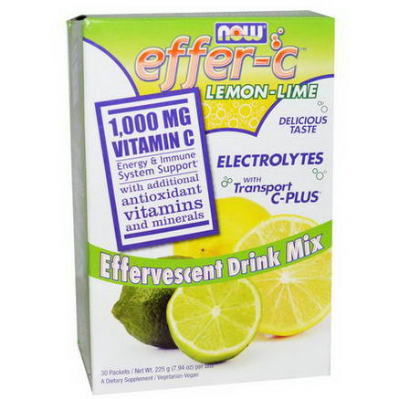 Now Foods, Effer-C, Electrolytes with Transport C-Plus, Lemon-Lime, 30 Packets, (7.5g) Each