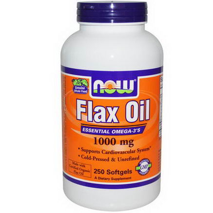 Now Foods, Flax Oil, Essential Omega-3's, 1000mg, 250 Softgels